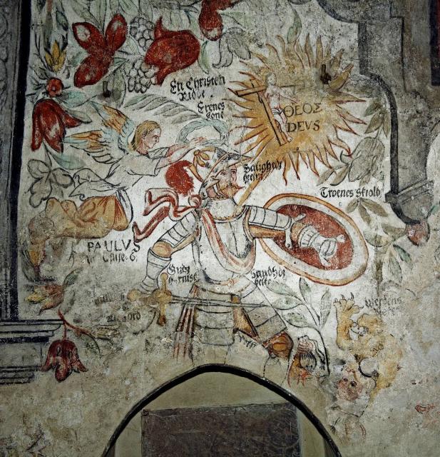 Den kristne ridder med sine attribut -billedet är en symbol for kirkens velgörer i 1500-talet Frederik 2