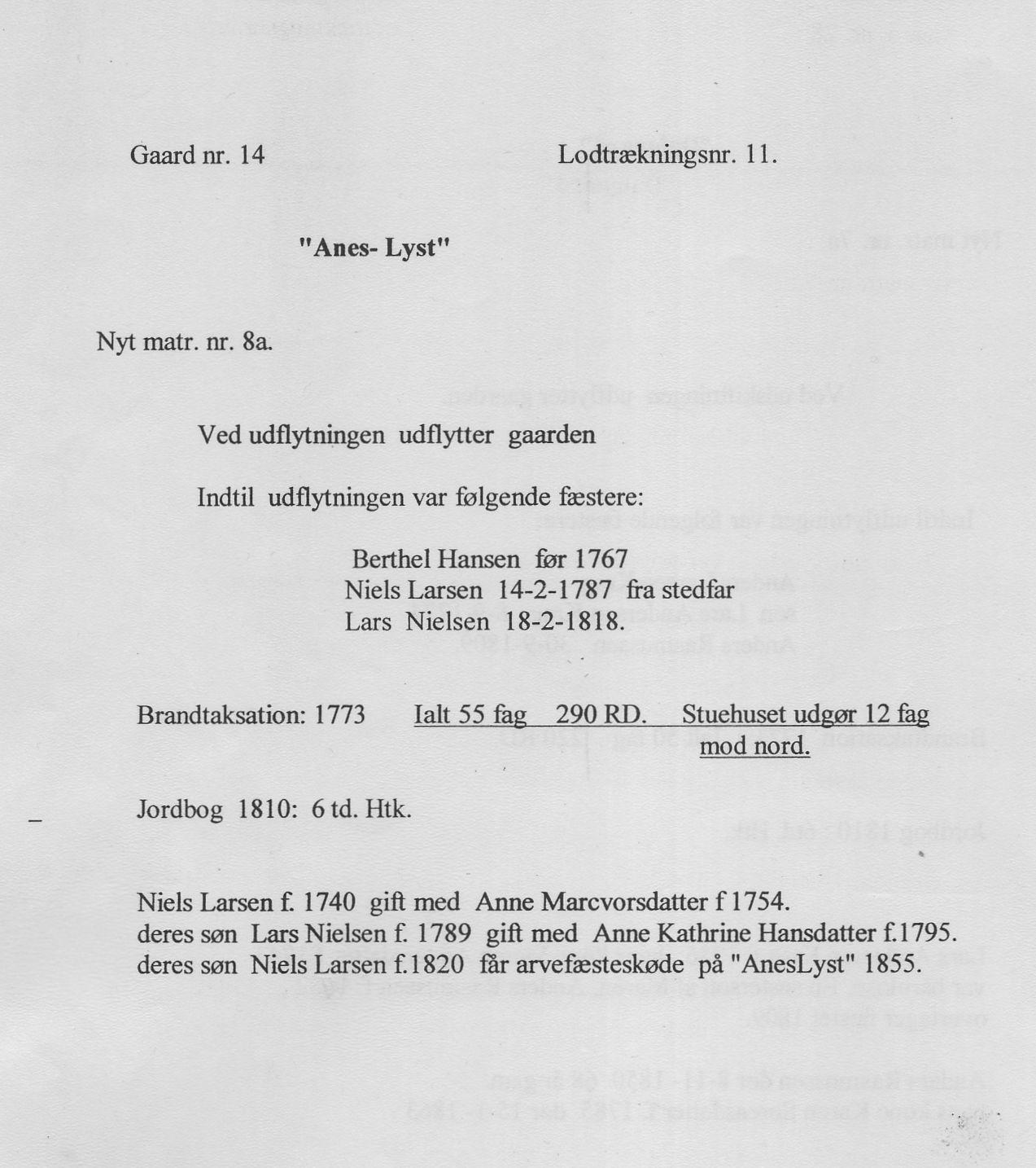 """""""Anes-Lyst"""" - nyt matr. nr. 8a, Åstrup sogn"""