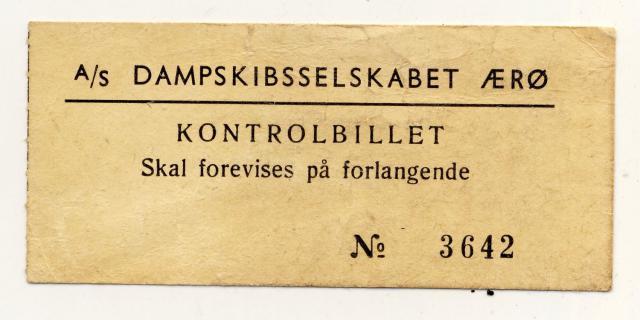 Billet - A/S Dampskibsselskabet Ærø