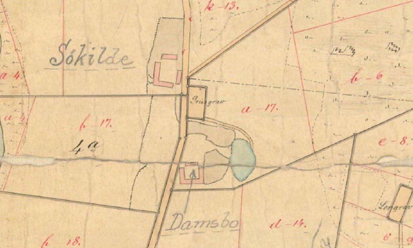 Fleninge - kirketomt nord for Damsbo - kirkegård i grusgrav nord for