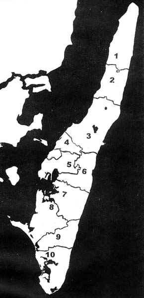 Langelands distrikter
