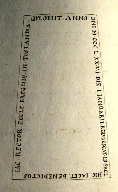 Pastor P.J. Lucoppidan's tegning af Benedict Jacob's gravsten (1707)