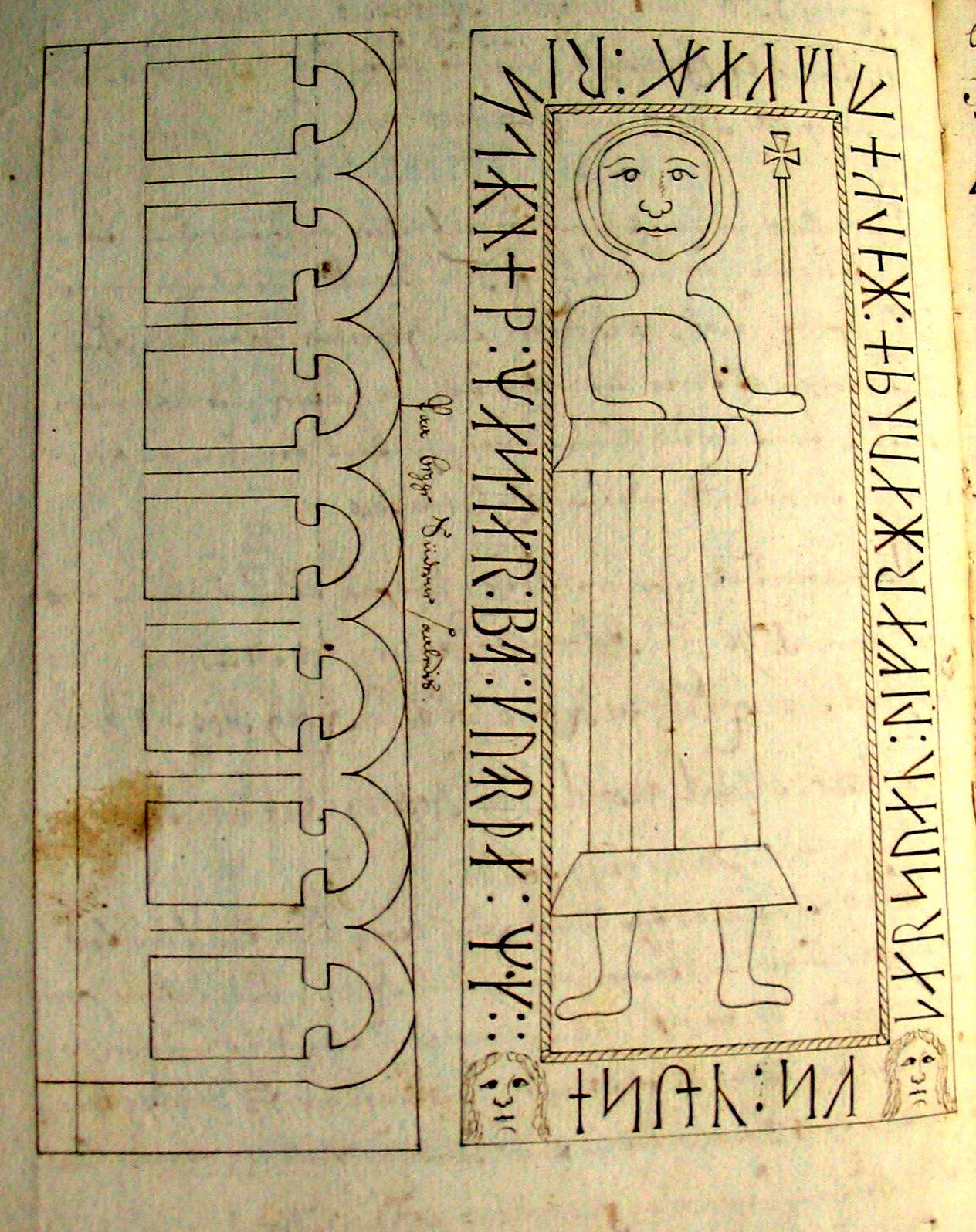 Pastor P.J. Lucoppidan's tegning (1707) af Svend Sassersøn's gravsten
