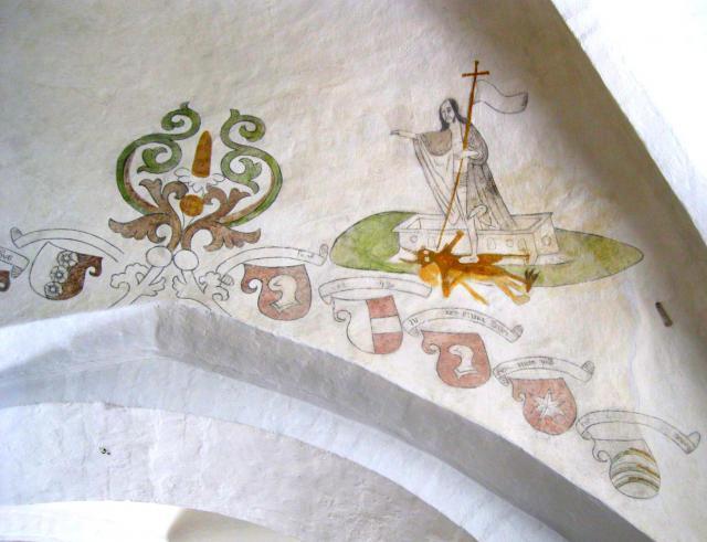 Kristus træder ud af en sarkofag og ned på djævelen og døden (1550)