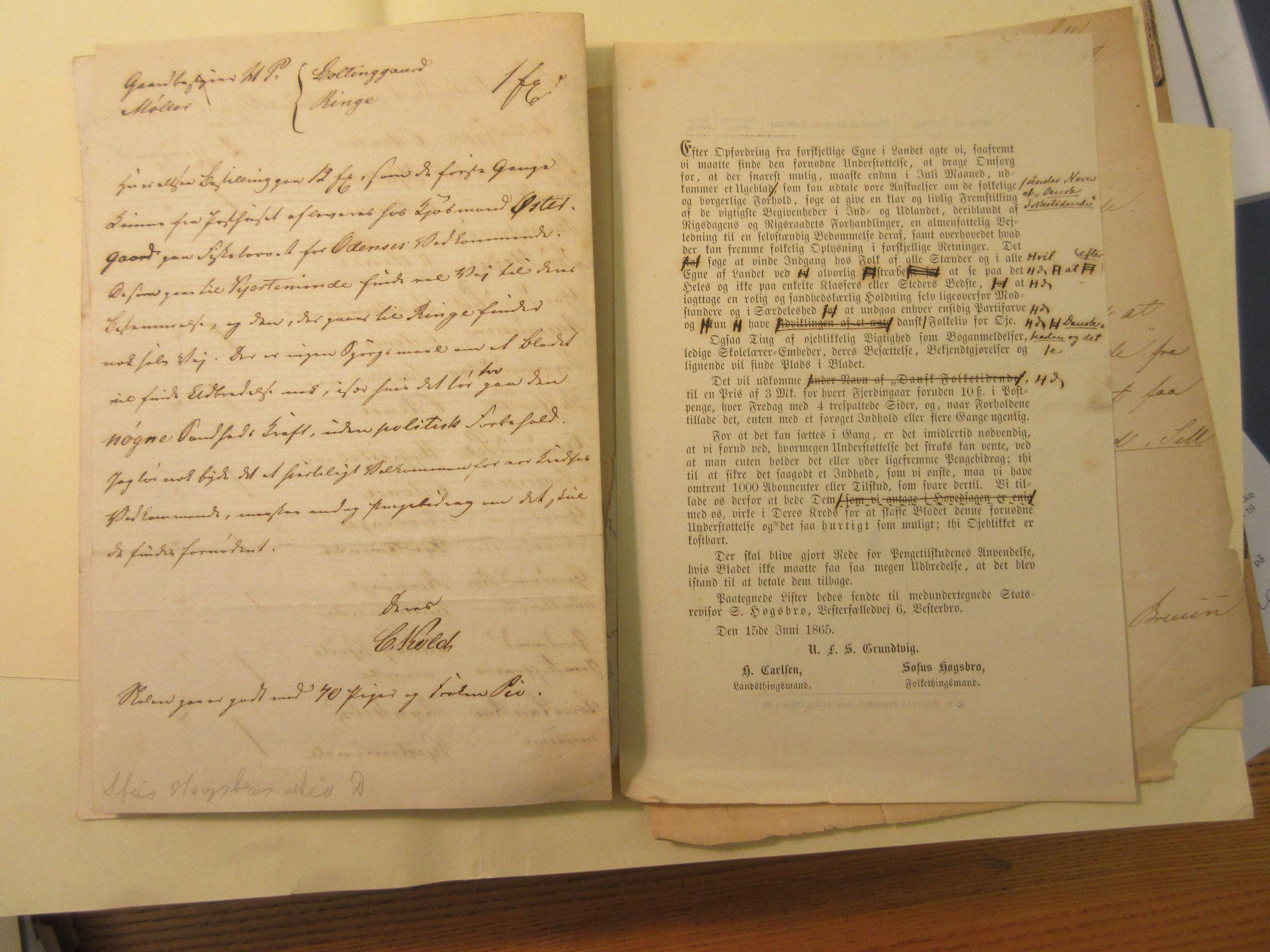 Introduktions skrivelse 1865 (3) til Dansk Folketidende
