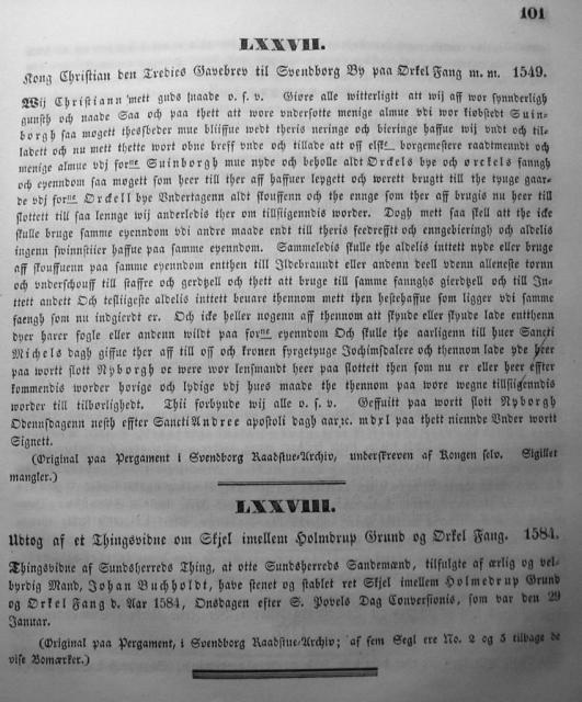 Dokumenter vedr. Svendborg by i almindelighed 1253-1562 (16)