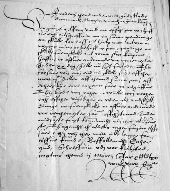 Kongebrev 2. marts 1565