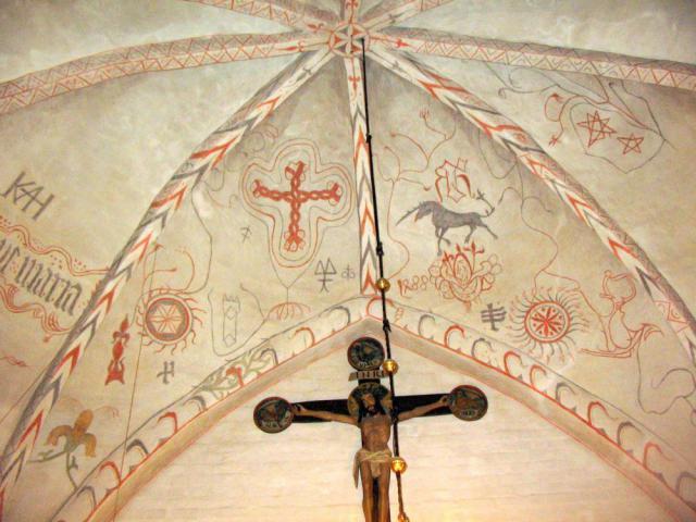 Gudme kirke - kalkmalerier 1488 - Træskomaleren