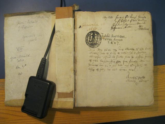 Første side af Jydske, sjællandske og fynske antikviteter 1607