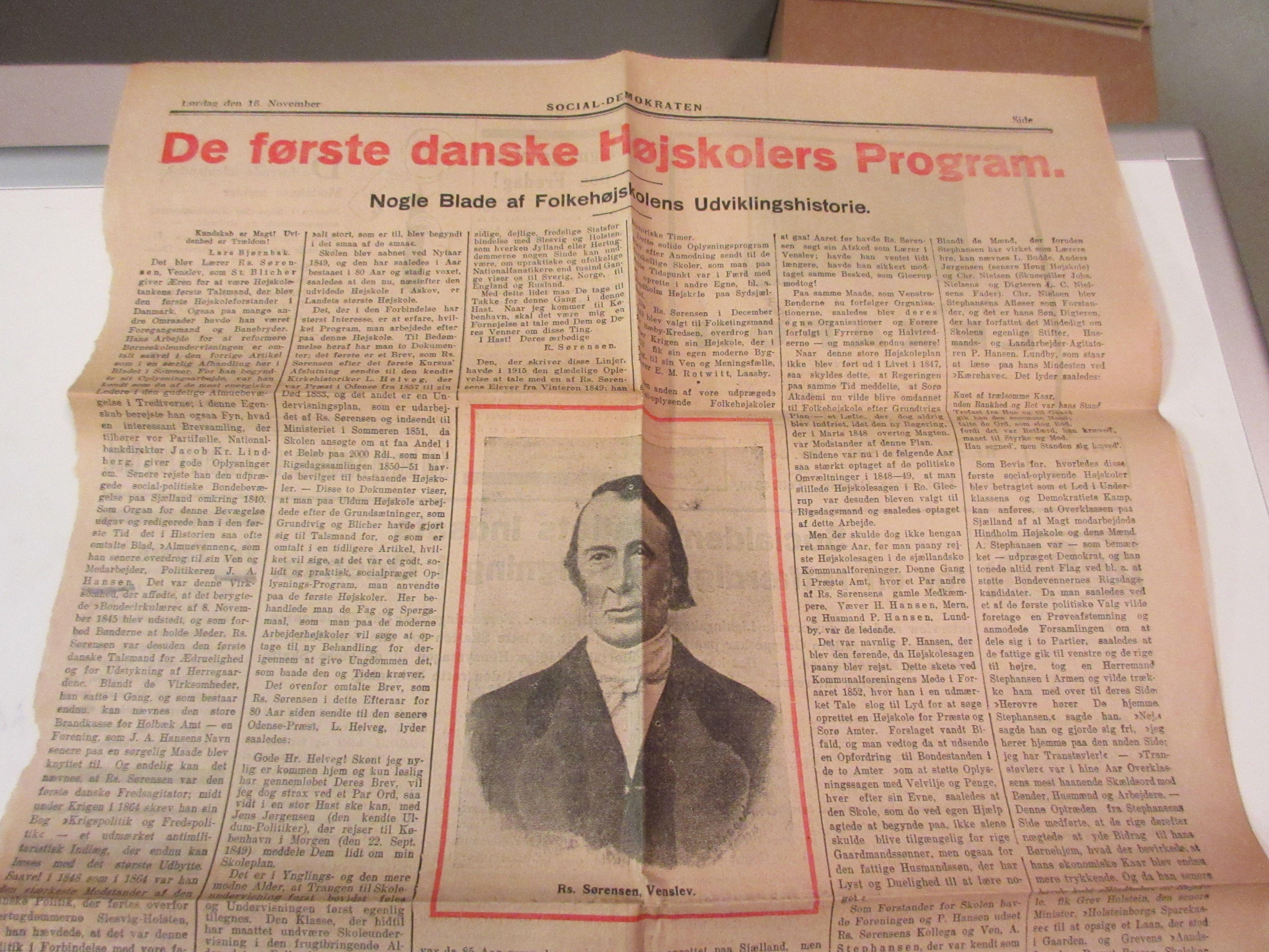 Lærer Rasmus Sørensens højskole tanker - første gang fremsat febr 1843