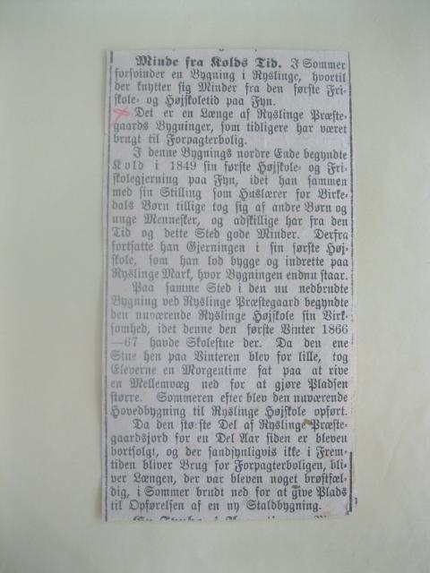 Avis om Kolds første skole i Ryslinge