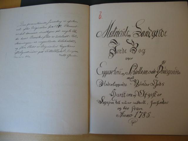 Jordebog 1785 Egeskov og Skjoldemose