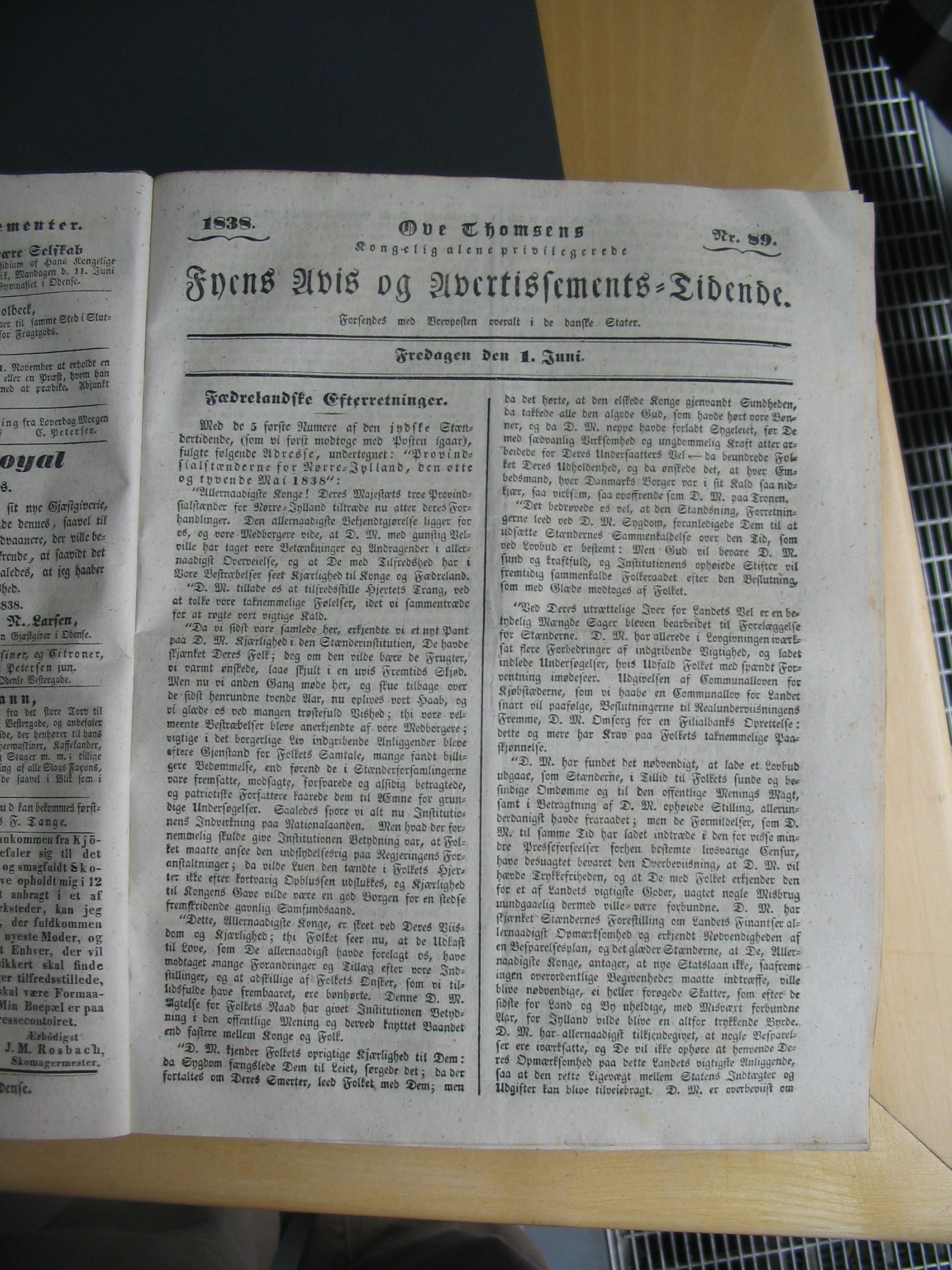 Fyens Avis 1. juni 1838