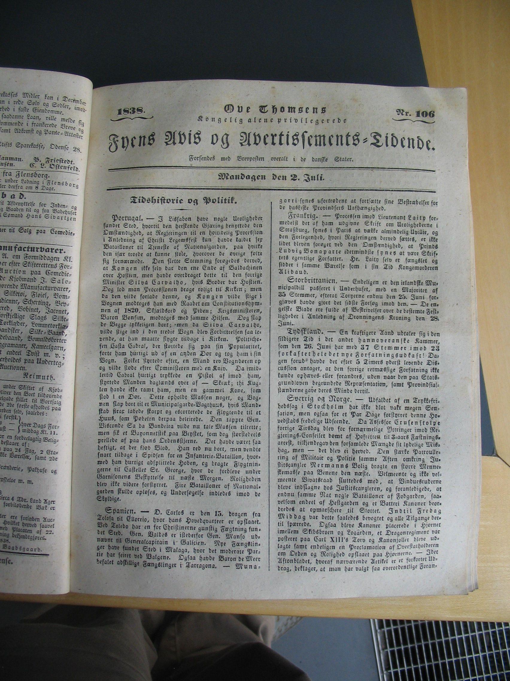 Fyens Avis -2. juli 1838