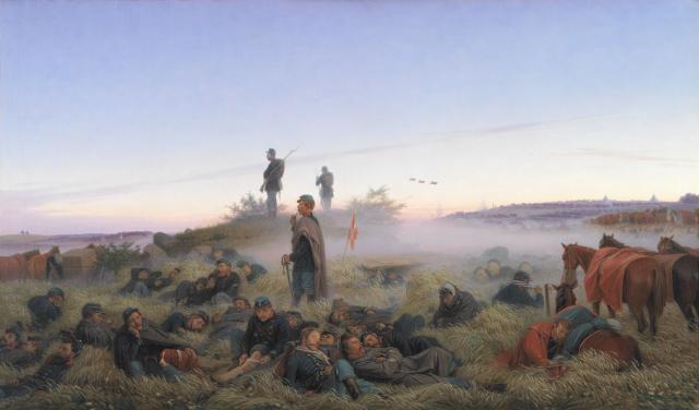 Morgenen meget tidligt efter slaget 25. juli - studie af Jørgen V. Sonne 1876