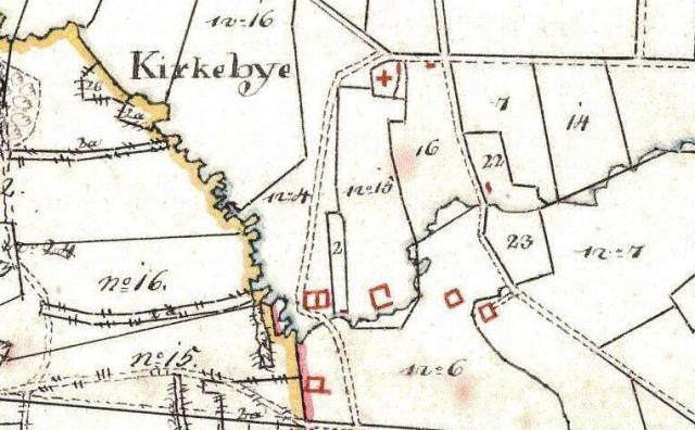 Kirkeby by 1816 - gårdene ligger alle ved åen