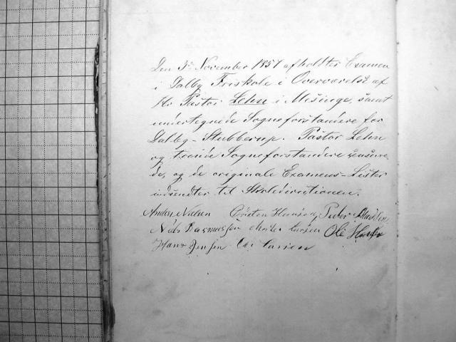 Eksamen i Dalby Friskole 1857