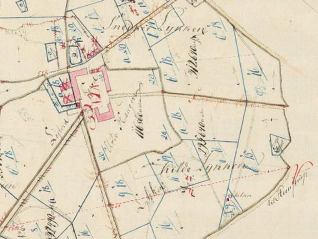 """Løjtved - Kildelykken 1797 - rød plet markerer """"Kilden"""""""