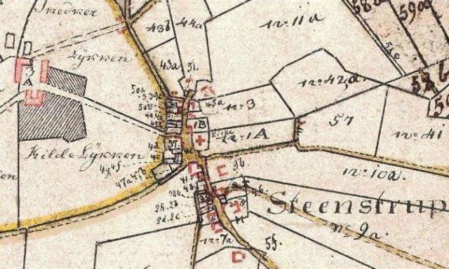 Kort o. Løjtved hovedgård og Stenstrup by 1816