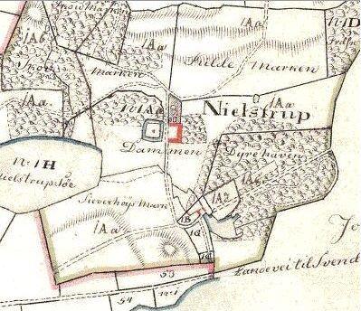 Kort 1816 Nielstrup hovedgård, Ollerup sogn