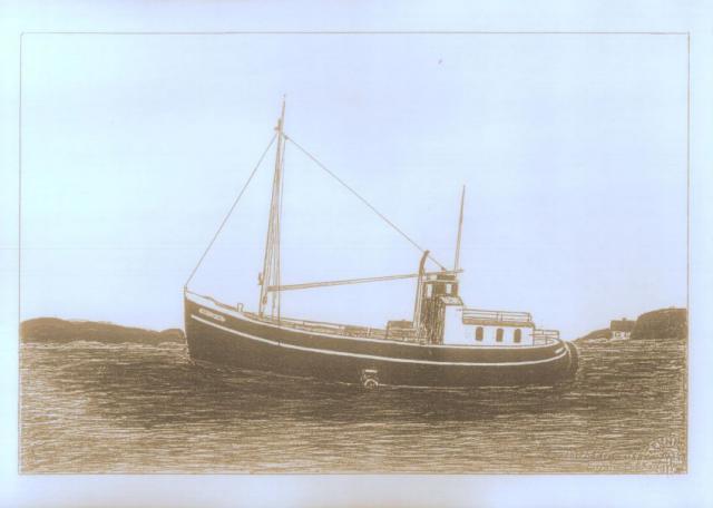 Postbåden til Skarø i Edvard Broholm's streg