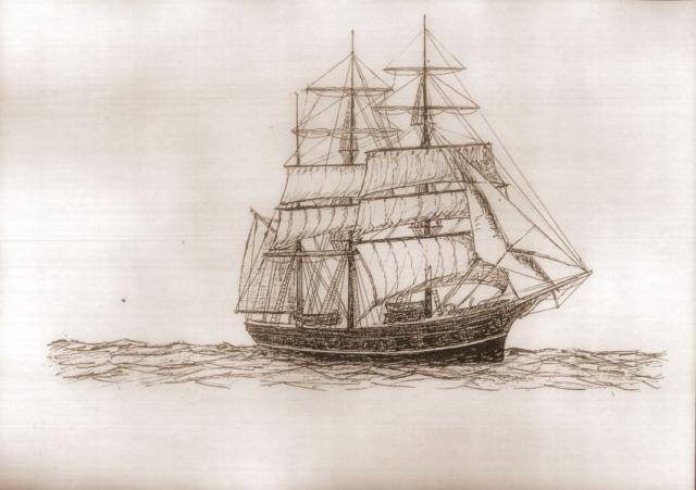 To-masters sejlskib i Edvard Broholm's streg