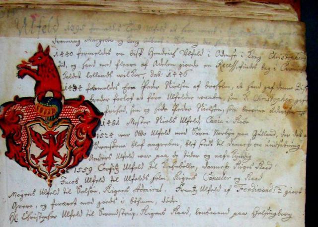 Peder Nielsen Ulfeldt til Broholm i Anne Rønnows våbenbog fra ca 1600