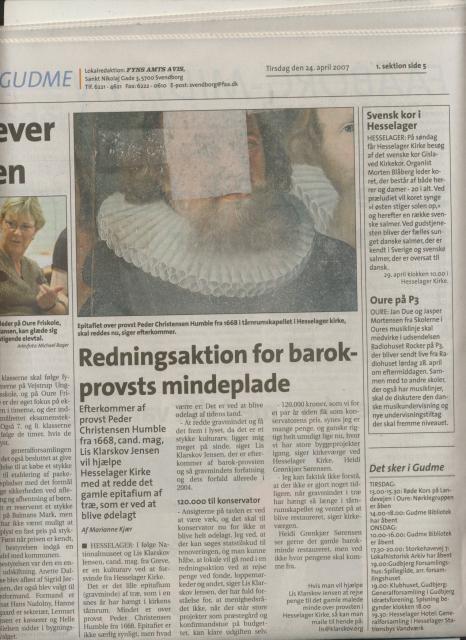 Fyns Amts Avis, artikel april 2007