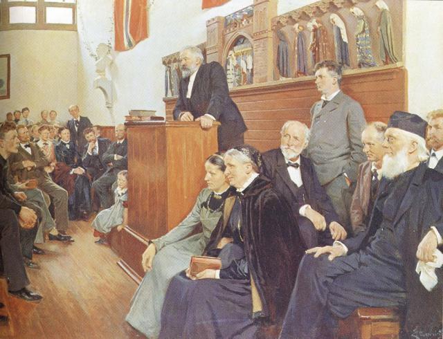 Askov Højskole med Ludvig Schrøder på talerstolen