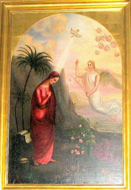 """Ollerup kirke - """"Bebudelsen"""" skænket kirken senest 1839 (Udført af Ingemanns hustru, Lucia Mandix)"""