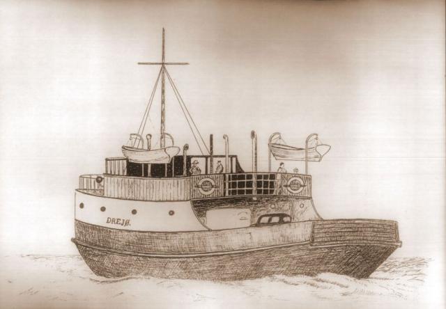 Drejø - færgen i Edvard Broholm's streg