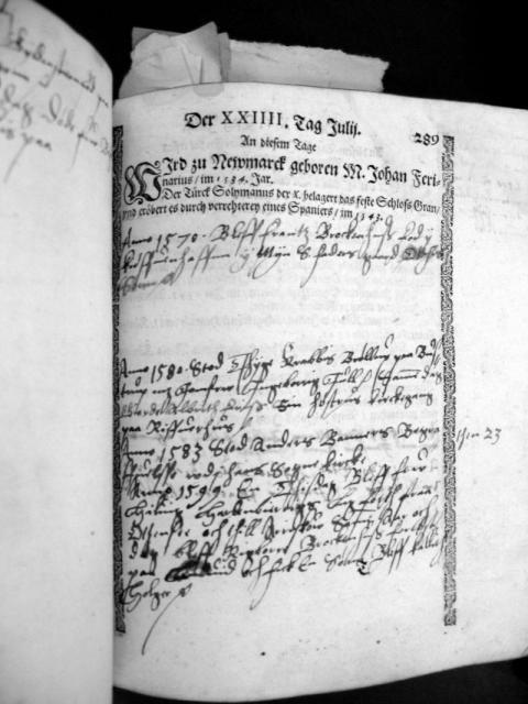 Eiler Brockenhuus's kalenderoptegnelser - 24.juli (1599)