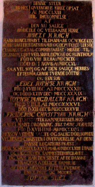 Epitafium over slægten Krag på Egeskov - Kværndrup kirke