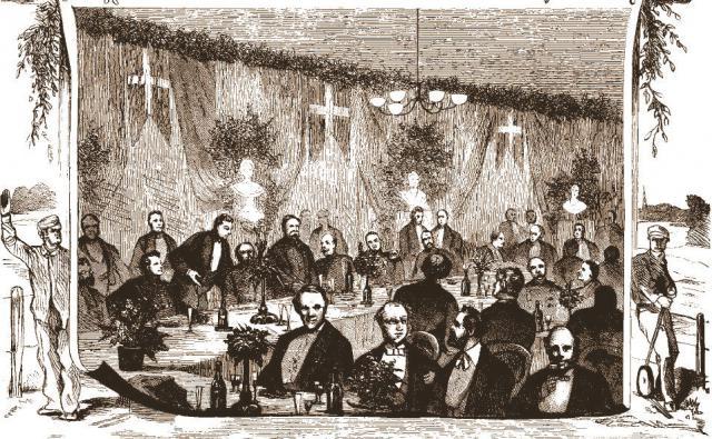 Festmiddagen i Frimurerlogen ved Svendborgbanen's indvielse 1876