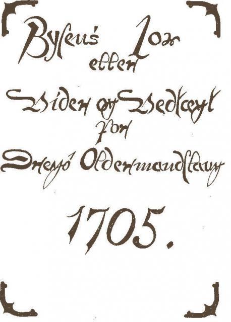 Forside til Drejø bylov (1705) i Edvard Broholms streg