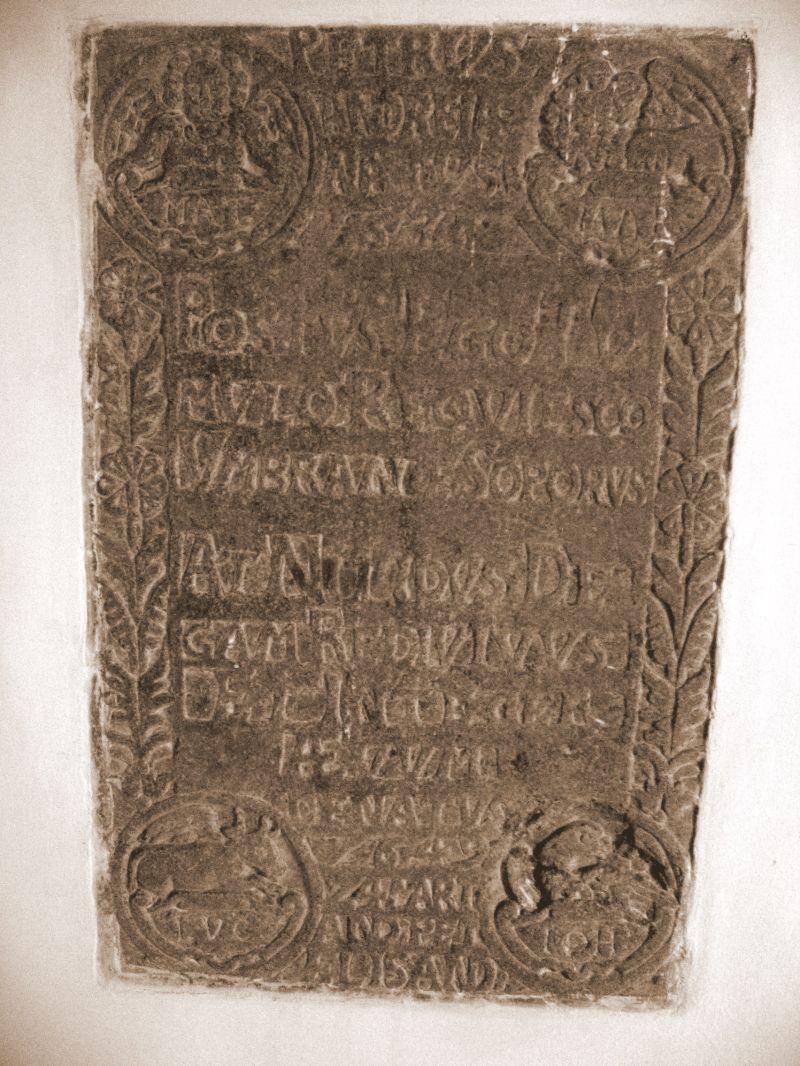 Gravsten for Peder Andersen (1635-49) - Ollerup kirke