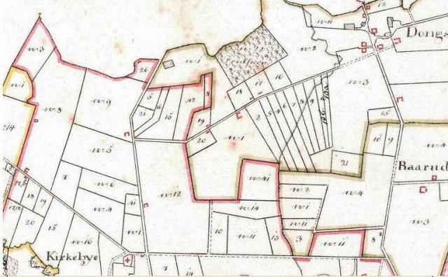 Kort 1816 o. området ved Ting- og henrettersted for Sunds-Gudme herreder