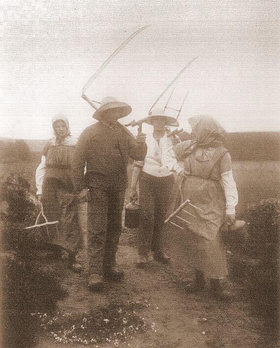 Høstfolk vender hjem fra marken