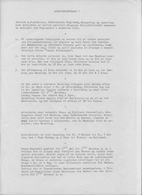 Arbejdskontrakt 1909 Petersminde Teglværk