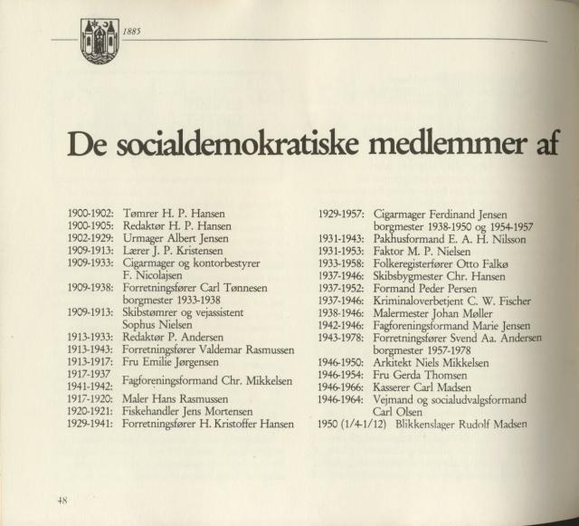 Svendborg Socialdemokratiske Forening - byrådsmedlemmer 1902-85