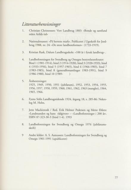 Sv. & Omegns landbf 1901-2001 - Litteraturhenvisninger