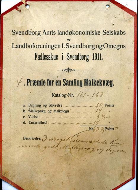 Præmieskilt for samling kvæg (1911)