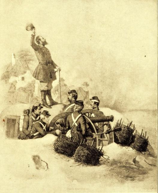 Scene fra slaget ved Frederiksstad 4. oktober 1850