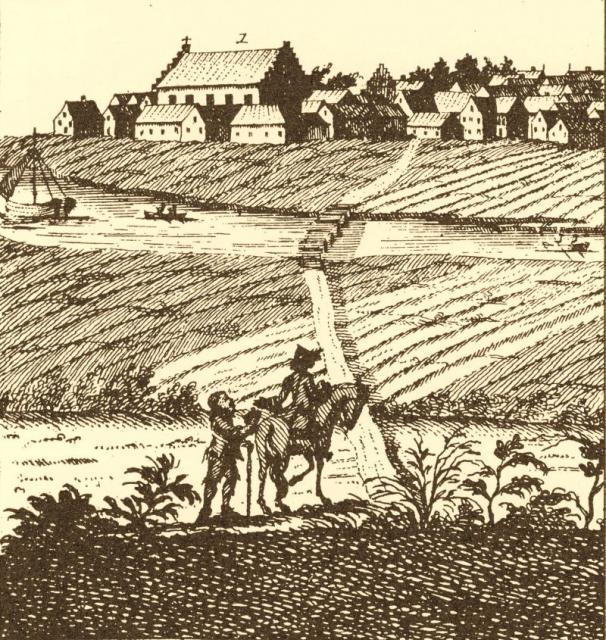 Rytter antastes af betler (18. årh.)