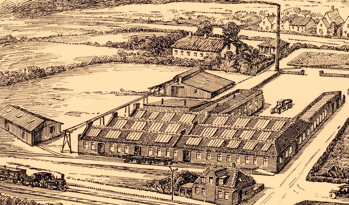 Vester Åby virksomheden efter branden i 1921 - I dag hedder virksomheden Damas
