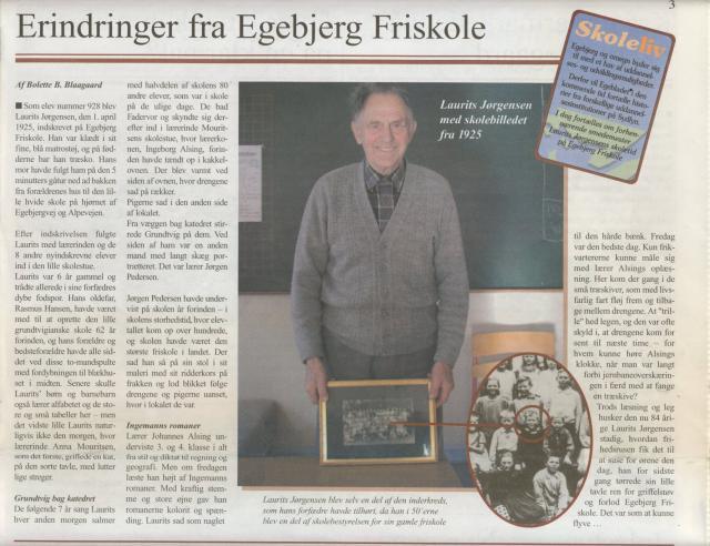Laurits Jørgensen om sin skoletid i Egebjerg