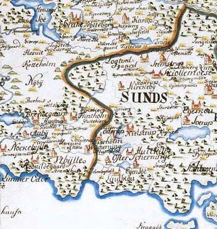 Vandmøllerne lå i 1698 tæt ved Hørup å