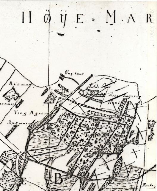 Kort over tinghus og justitsplads 1783
