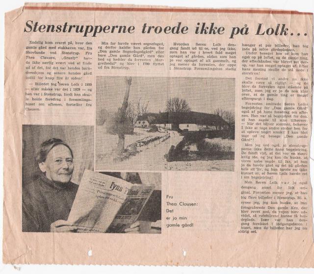 Thea Clausen om Søren Lolk's besøg på Margrethedal i Skovlund