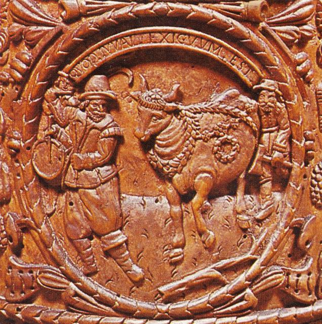 """""""Majko"""" kranset med bøgeløv - fra kande dateret 1663"""